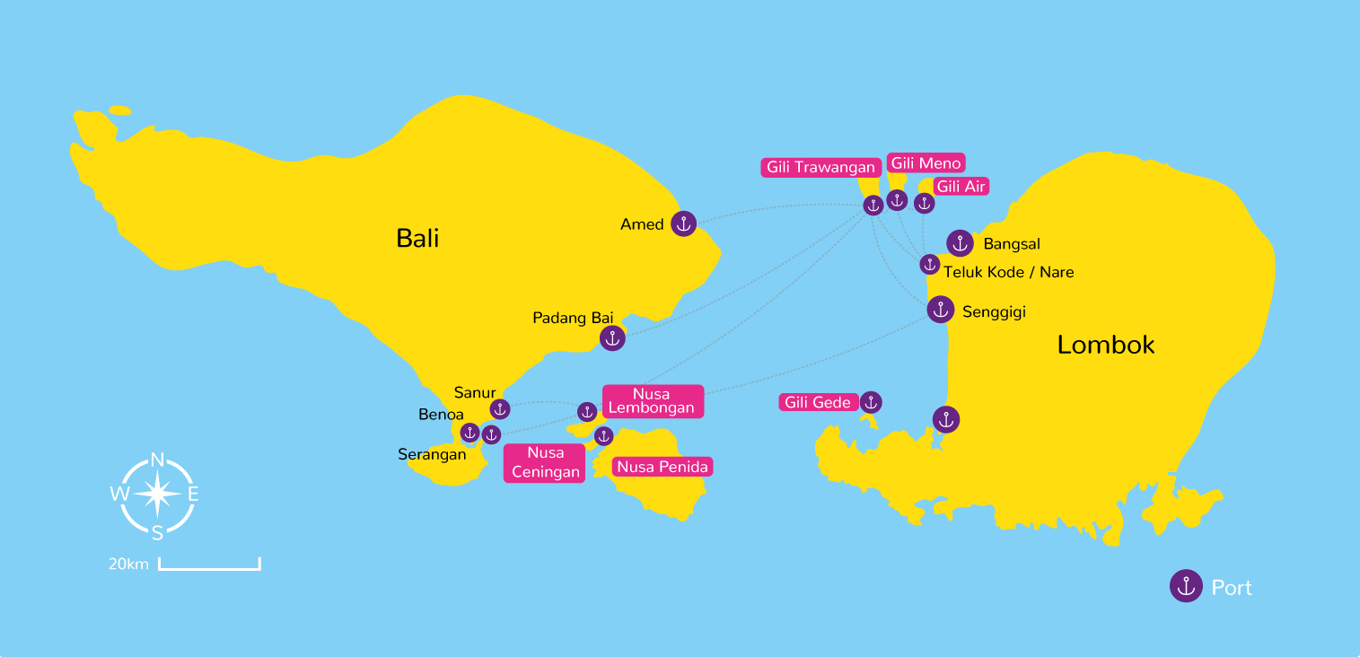 Map of Bali and Gili Islands, Lombok, Nusa Cenigan, Nusa Lembongan