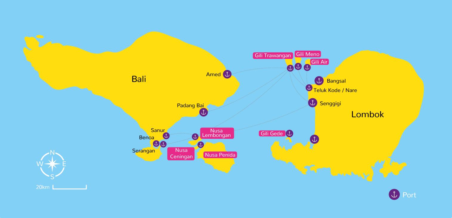 Map of Bali and Gili Islands, Lombok, Nusa Cenigan, Nusa Lembongan