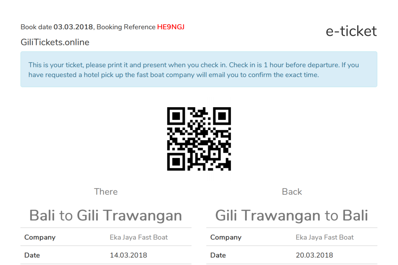 Sample ticket from Bali to Gili Trawangan