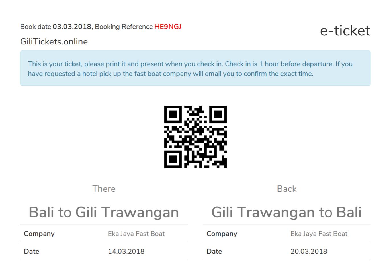 Sample ticket from Bali to Gili Trawangan